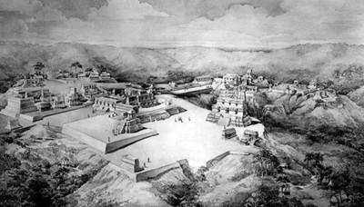 Panorámica de Uaxactún, dibujo