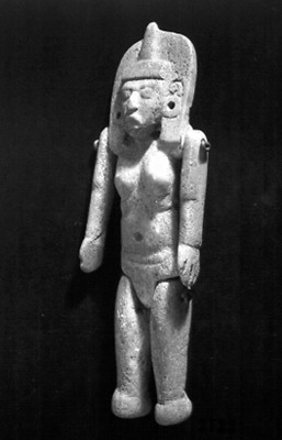 Figurilla femenina articulada, vista de tres cuartos