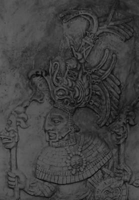 Detalle de un relieve de la cripta del Templo de las Inscripciones