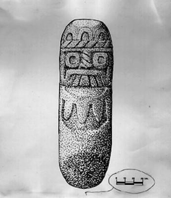 Dibujo de la escultura de Tláloc en el Cerro de la Malinche