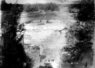 Excavación arqueológica, detalle de una cala en Teotihuacán