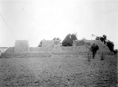 Vista del muro de Huexotla