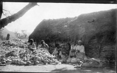 Familia indígena desgranando maíz en el patio de su vivienda