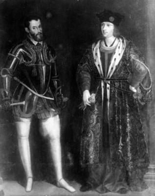 """""""Carlos V"""" acompañado de otro hombre, pintura, reproducción"""