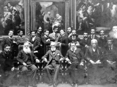 José Ma. Velasco, Salomé Piña, Félix Parra, Mateo Herrera, Usueta, Ignacio Rosas y otros intelectuales en la Academia de San Carlos, retrato de grupo