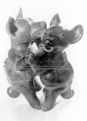Perros danzantes, figuras en cerámica