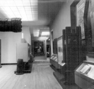 Sala de la cultura, al fondo óleo con la imagen de Sor Juana Inés de la Cruz