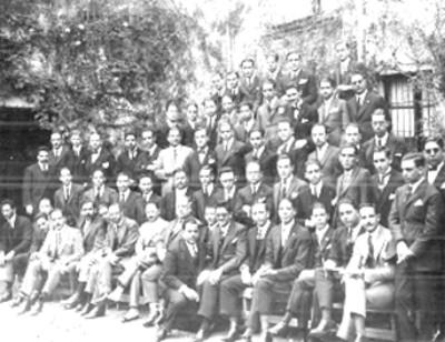 Grupo de hombres, retrato