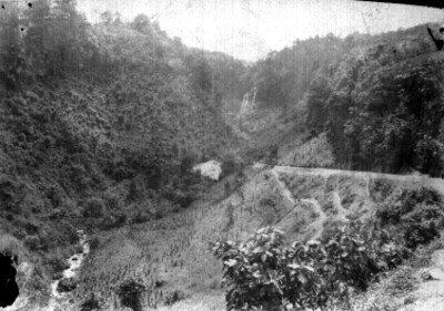"""Vista parcial de la barranca y acueducto de """"la casa beneficiadora de cafe de Calos Ortiz y Cía"""""""