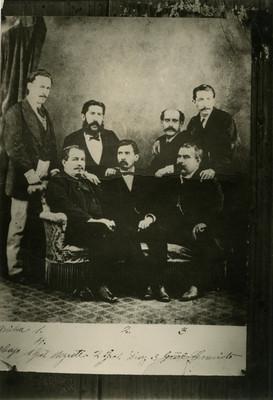 Porfirio Díaz con Miguel Negrete, los hermanos Cravioto y Félix Díaz, retrato de grupo