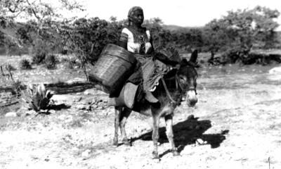 Mujer indígena montada en un burro, retrato