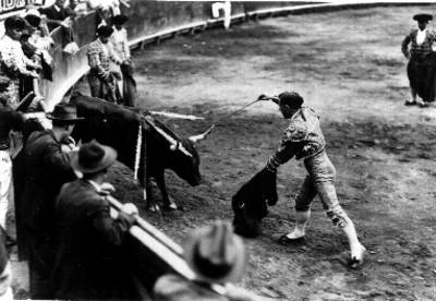 Torero a punto de clavar espada en la nuca del toro