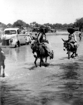 Mujeres sobre asnos atraviesan un río
