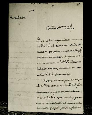 Manuscrito referente al Juicio de Fray Melchor de Talamantes