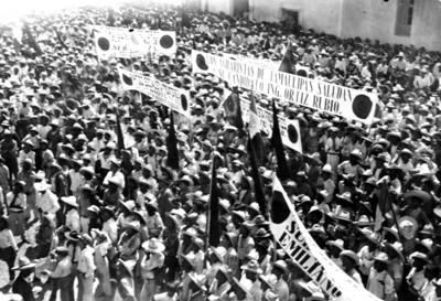 Agraristas de Tamaulipas reunidos en mitin para recibir a Pascual Ortiz Rubio