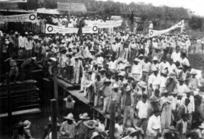 Manifestación de apoyo a Ortiz Rubio en la localidad El Hule