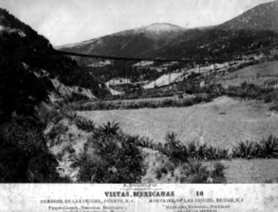 """Cumbres de Las Cruces, Puente No. 1, Ferrocarril Nacional Mexicano, Estado de México, """" Montains, of las cruces, bridge No. 1, Mexican National, Railway State of Mexico"""""""