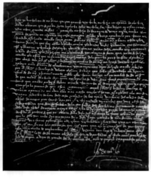 Carta firmada de Bartolomé de Medina
