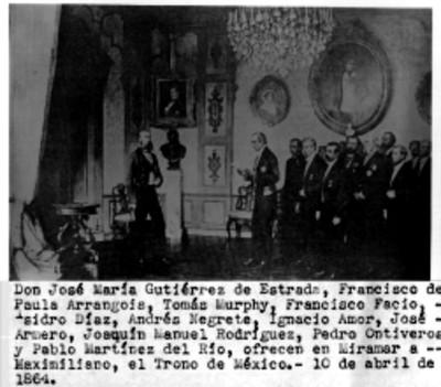 Miembros de la Comisión de Miramar ofrecen a Maximiliano el trono de México, reprografía