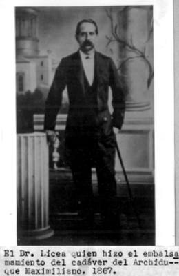 Retrato del doctor Vicente Licea, médico que embalsamó el cadaver de Maximiliano, reprografía