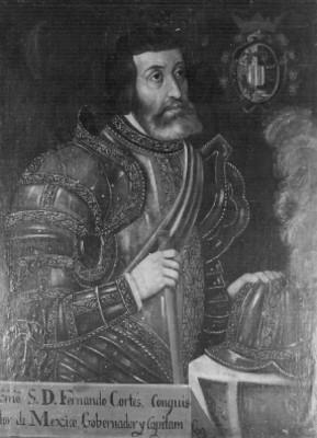 """""""Exmo. S.D. Fernando Cortés, conquistador de México, gobernador y capitán"""", pintura al óleo"""