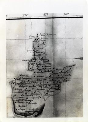 Mapa del Estado de Puebla y sus poblaciones, a mediados del siglo XVIII