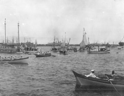 Panorámica de regatas en las fiestas del Centenario en Veracruz