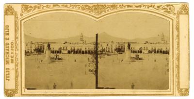 Vista de la Plaza de Armas de Puebla, estereoscópica