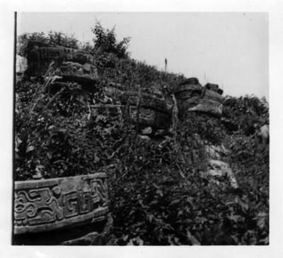 Vista de fragmentos de columnas con relieves en El Tajín