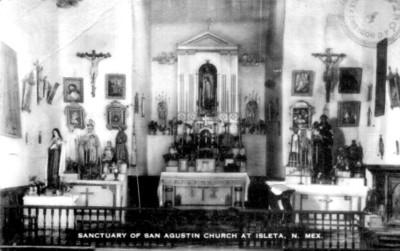 "Santuario de la Iglesia de San Agustín en Nuevo México, ""Sanctuary of San Agustin church at Isleta, Nuevo México"""