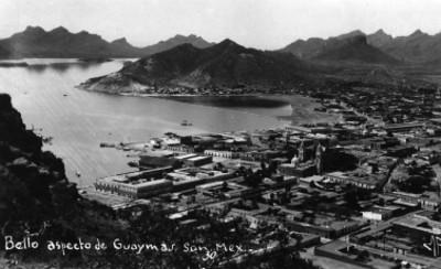 Vista panorámica de Guaymas en Sonora, tarjeta postal
