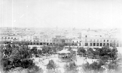 Vista del Zócalo de la Ciudad de México desde la Catedral