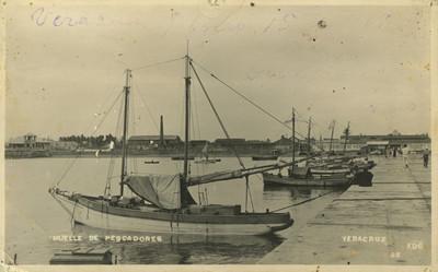 """""""Muelle de pescadores"""" en Veracruz, tarjeta postal"""