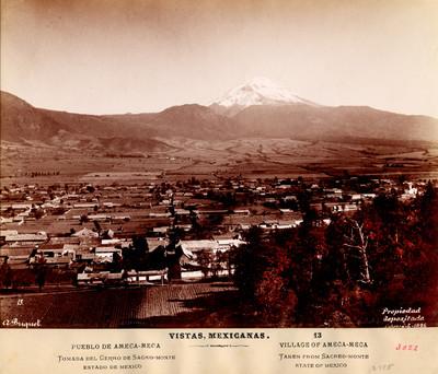 Vistas Mexicanas. 13. Pueblo de Amecameca. Tomada del cerro de Sacro-monte