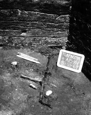 Objeto carbonizado encontrado en un pozo estatigráfico, Tlapacoya