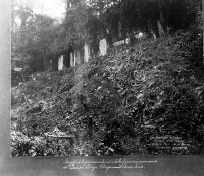 Hombre junto al Palacio de Palenque sin explorar