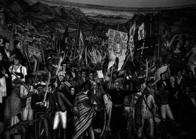 Miguel Hidalgo y Costilla durante el movimiento de Independencia, pintura mural