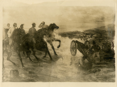 Pintura al óleo La Batalla de la Carbonera de Francisco de P. Mendoza, reprografía
