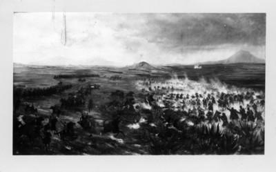 """""""Batalla del 5 de Mayo de 1862"""", pintura al óleo, reprografía"""