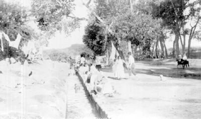 6274. Hot springs acequia, bathing scenes