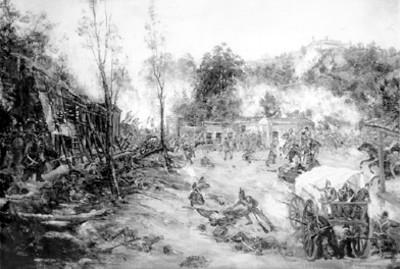 Pintura de la defensa del castillo de Chapultepec por el Batallón de San Blas, reprografía