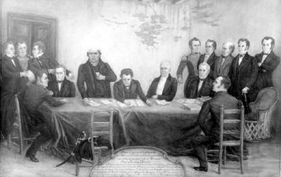 Pintura del primer congreso constituyente en 1814, reprografía