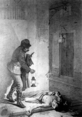 Pintura de un sereno que localiza el cadáver de un hombre, reprografía