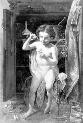 Pintura con la representación un niño alado