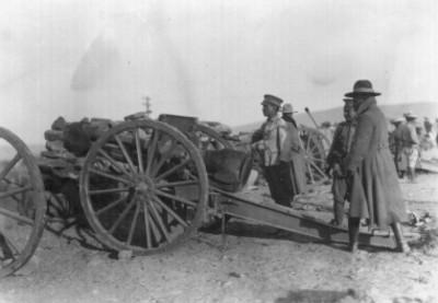 Instalación de artillería y fuerzas de infantería federales