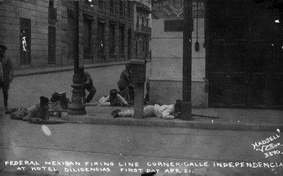 Federal Mexican Firing line corner calle Independencia at Hotel Diligencias