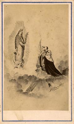 Alegoría de Maximiliano y Carlota ante la virgen de Guadalupe, tarjeta de visita