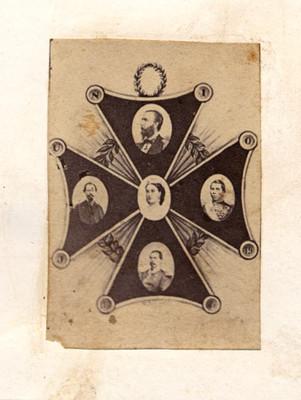 Maximiliano de Habsburgo, Carlota Amalia y militares, composición fotográfica