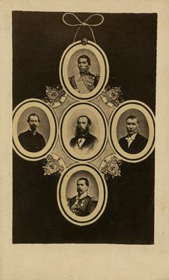 Maximiliano de Habsburgo, Tomás Mejía, Miguel Miramón y otros militares, composición fotográfica