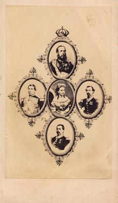 """Retratos de """"Maximiliano, Tomás Mejía, Carlota Amalia, Miguel Miramón y Ramón Mendez"""""""